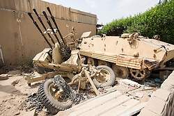 Old military vehicles on display outside Kuwait House of National Works , a war museum, in Kuwait City. Kuwait.