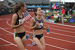 Olympic Trials Eugene 2012: 1500 meter womens, Simpson and Rowbury celebrate making Olympic team