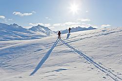 Backcountry skiing in White Pass in Northern British Columbia near Whitehorse, Yukon, Canada
