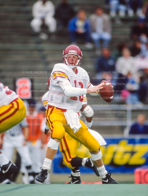 BERKELEY, CA -  OCTOBER 14:  Todd Marinovich #13 of the USC Trojans plays in a college football game against the California Golden Bears on October 14, 1989 at Memorial Stadium on the campus of the University of California in Berkeley, California. (Photo by David Madison/Getty Images) *** Local Caption *** Todd Marinovich