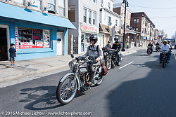 Steve Decosa in Atlantic City just after leaving the start of the Motorcycle Cannonball Race of the Century. Stage-1 from Atlantic City, NJ to York, PA. USA. Saturday September 10, 2016. Photography ©2016 Michael Lichter.