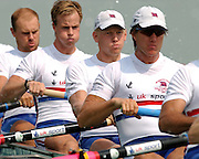 2003 World Rowing Championships, Idroscala. Milan, Italy.Semi finals, men's eight, Britain's,  [left to right] , Dan Ouseley, Jonno Devlin, Andrew Hodge, Ed Coode,  at the start of their semi final ... Milan. ITALY 2003 World Rowing Championships. Idro Scala Rowing Course. [Mandatory Credit: Peter Spurrier: Intersport Images.]