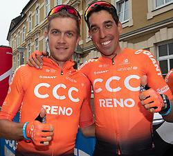 07.07.2019, Wels, AUT, Ö-Tour, Österreich Radrundfahrt, 1. Etappe, von Grieskirchen nach Freistadt (138,8 km), im Bild v.l. Riccardo Zoidl (AUT, CCC Team) Rundfahrtsieger 2013, Victor de la Parte (ESP, CCC Team) Rundfahrtsieger 2015 // f.l. Riccardo Zoidl of Austria (CCC Team) winner tour of Austria 2013 Victor de la Parte of Spain (CCC Team) winner tour of Austria 2015 during 1st stage from Grieskirchen to Freistadt (138,8 km) of the 2019 Tour of Austria. Wels, Austria on 2019/07/07. EXPA Pictures © 2019, PhotoCredit: EXPA/ Reinhard Eisenbauer