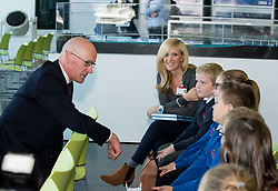 Pictured: Education Secretary John Swinney MSP meets some of the primary school pupils at the launch of the new interactive educational games.<br /> <br /> © Dave Johnston / EEm