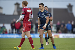 September 22, 2018 - Galway, Ireland - Rhys Patchell (10) of Scarlets and Tiernan O'Halloran of Connacht during the Guinness PRO14 match between Connacht Rugby and Scarlets at the Sportsground in Galway, Ireland on September 22, 2018  (Credit Image: © Andrew Surma/NurPhoto/ZUMA Press)