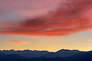 A soothing sunset over a portion of the Western Alps in Piedmont, Italy.