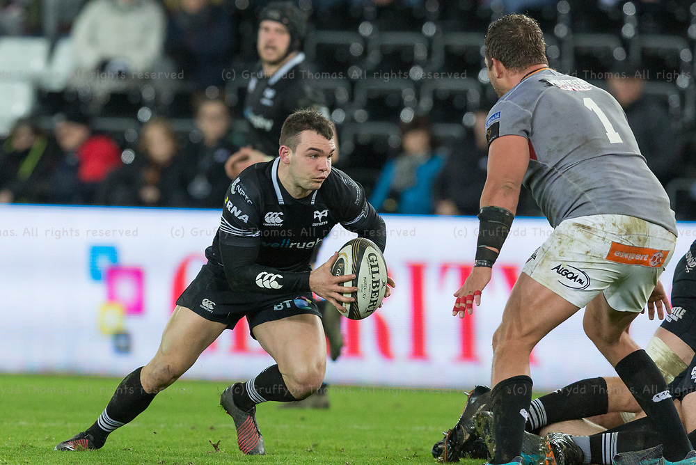 Liberty Stadium, Swansea, Wales, UK. Friday 16 February 2018.  Ospreys scrum half Tom Habberfield attacks in the Guinness Pro14 match between Ospreys and Southern Kings.