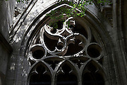 Gothic window in the Dom Kerk garden, Utrecht, Holland