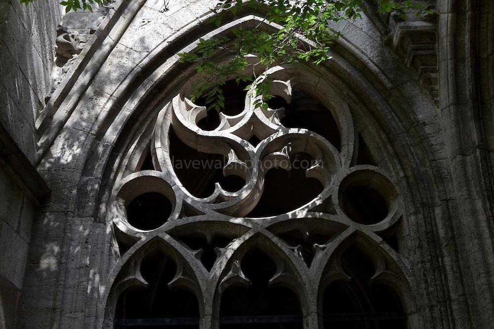 Gothic window in the Dom Kerk garden, Utrecht, Holland