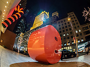 Big 9 Sculpture is on Christmas at The Solow Building in Manhattan of New York City.