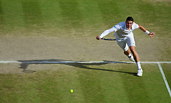 04.07.2014, All England Lawn Tennis Club, London, ENG, ATP Tour, Wimbledon, im Bild Milos Raonic (CAN) during the Gentlemen's Singles Semi-Final match on day eleven // during the Wimbledon Championships at the All England Lawn Tennis Club in London, Great Britain on 2014/07/04. EXPA Pictures © 2014, PhotoCredit: EXPA/ Propagandaphoto/ David Rawcliffe<br /> <br /> *****ATTENTION - OUT of ENG, GBR*****