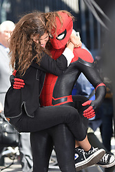 October 12, 2018 - New York, New York, U.S. - Zendaya and Tom Holland seen on set filming 'Spider-Man: Far From Home' in New York City. (Credit Image: © Kristin Callahan/Ace Pictures via ZUMA Press)
