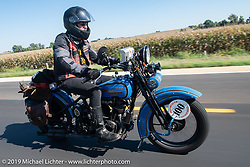 The Doobie Brothers' Pat Simmons riding his 1928 Harley-Davidson JD in the Motorcycle Cannonball coast to coast vintage run. Stage 6 (260 miles) from Bourbonnais, IL to Cedar Rapids, IA. Thursday September 13, 2018. Photography ©2018 Michael Lichter.