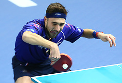 February 23, 2018 - London, England, United Kingdom - Quentin ROBINOT of France  in action.during 2018 International Table Tennis Federation World Cup at Copper Box Arena, London  England on 23 Feb 2018. (Credit Image: © Kieran Galvin/NurPhoto via ZUMA Press)