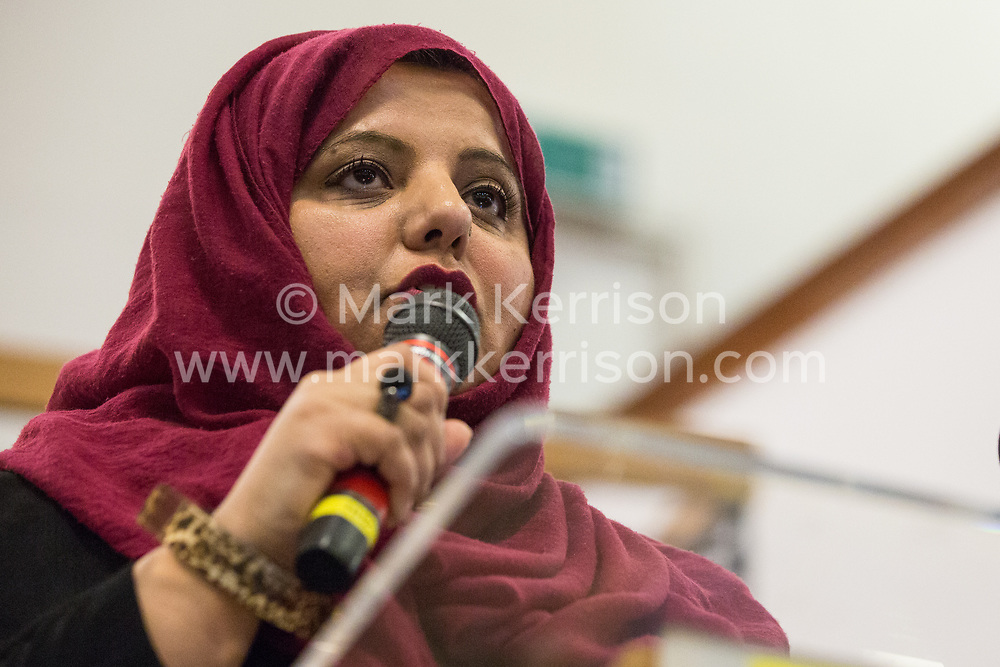 London, UK. 2nd March, 2019. Shaista Aziz, Labour councillor for Rose Hill and Iffley in Oxford City Council, addresses the ¡No Pasaran! Confronting the Rise of the Far-Right conference at Bloomsbury Central.