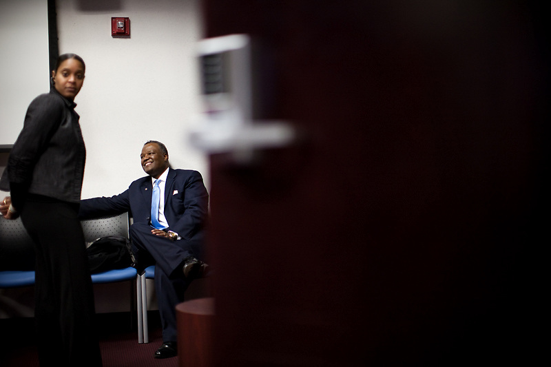 UPPER MARLBORO, MD - DECEMBER 6: Prince George's County Executive-Elect Rushern Baker III (right) relaxes after inauguration ceremony at Prince George's County Administration Building on December 6, 2010 in Upper Marlboro, Maryland. (Photo by Michael Starghill, Jr.)