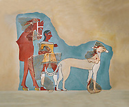 Mycenaean Fresco wall painting of a Mycanaean footman leading a horse & hunting dog,  Tiryns, Greece. 14th - 13th Century BC. Athens Archaeological Museum. Cat No 5878 .<br /> <br /> If you prefer to buy from our ALAMY PHOTO LIBRARY  Collection visit : https://www.alamy.com/portfolio/paul-williams-funkystock/mycenaean-art-artefacts.html . Type -   Athens    - into the LOWER SEARCH WITHIN GALLERY box. Refine search by adding background colour, place, museum etc<br /> <br /> Visit our MYCENAEN ART PHOTO COLLECTIONS for more photos to download  as wall art prints https://funkystock.photoshelter.com/gallery-collection/Pictures-Images-of-Ancient-Mycenaean-Art-Artefacts-Archaeology-Sites/C0000xRC5WLQcbhQ