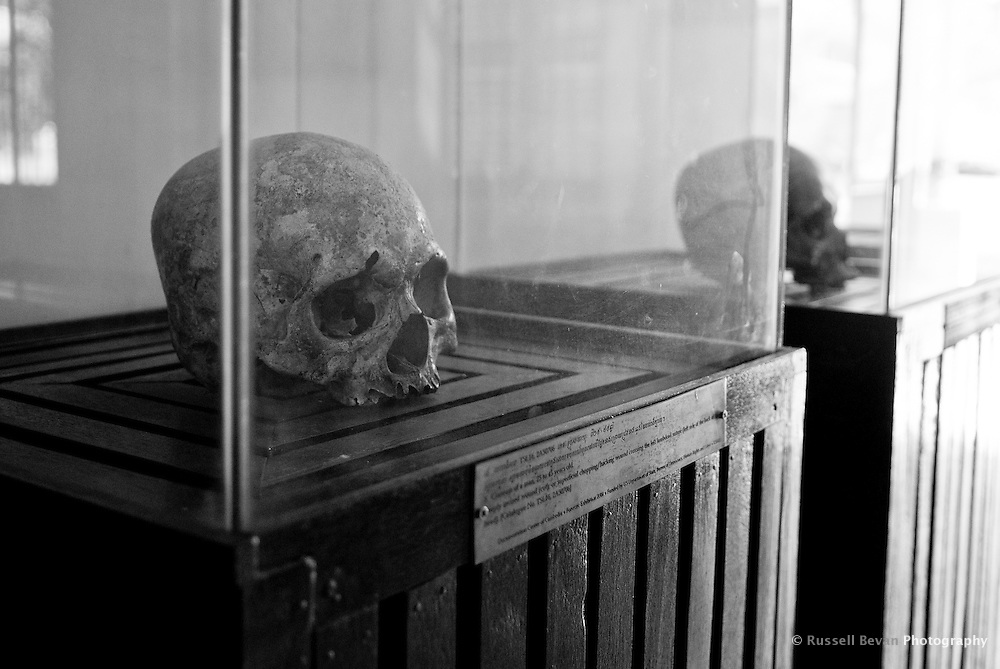 Human skulls in Building D at Tuol Sleng Genocide Museum in Phnom Penh, Cambodia