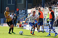 Bury's Danny Mayor (r) skips past Southend's defender John White on the wing. Skybet football league two match, Bury v Southend Utd at Gigg Lane in Bury, England on Sat 21st Sept 2013. pic by David Richards/Andrew Orchard sports photography