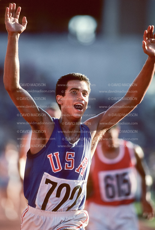 EDMONTON, CANADA - OCTOBER 11:  Actor Robby Benson #722 of the USA plays the role of Billy Mills in the movie Running Brave filmed in Commonwealth Stadium in Edmonton, Canada in this photograph taken October 11, 1982 on location during production of the film.  The movie recreates Billy Mills' historic win in the 1964 Olympic Games 10000 meter race.  (Photo by David Madison/Getty Images)