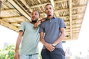 Gav and Jordan of Dancehall musical duo Equiknoxx from Jamaica, photographed for Pitchfork in Brussels Belgium, on May 17 2017 by Sander de Wilde