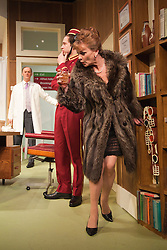 © Licensed to London News Pictures. 09/05/2012. London, England. Tim McInnerny as Dr Prentice, Nick Hendrix as Nicholas Beckett and Samantha Bond as Mrs Prentice. What the Butler Saw by Joe Orton and directed by Sean Foley opens at the Vaudeville Theatre, London. Photo credit: Bettina Strenske/LNP