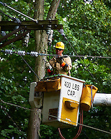 PSE&G Lineman Repairing the Power Line to My House after Huricane Irene Hit New Jersey. Image taken with a Nikon D700 and 28-300 mm VR lens (ISO 450, 300 mm, f/5.6, 1/125 sec).