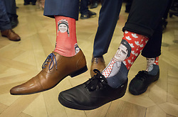 Cassie Sharpe who won gold in the women's ski halfpipe at the PyeongChang Olympics poses for a photo with Prime Minister Justin Trudeau as Olympic and Paralympic athletes visit Parliament Hill to be honoured in Ottawa, ON, Canada on Wednesday, May 9, 2018. Sharpe wears a pair of socks with Trudeau on them and Trudeau wears a pair of socks with Sharpe. Photo by Sean Kilpatrick/CP/ABACAPRESS.COM