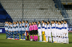 Players of Slovenia listening to the National anthem during football match between National teams of Greece and Slovenia in Final tournament of Group Stage of UEFA Nations League 2020, on November 18, 2020 in Georgios Kamaras Stadium, Athens, Greece. Photo by MATTHAIOS YORGOS / INTIME SPORTS / SPORTIDA