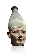Ancient Egyptian head of a Thutmosid Thutmose king, New Kingdom, 18th Dynasty (1550-1292 BC), Thebes. Egyptian Museum, Turin. White background<br /> The Eighteenth Dynasty of Egypt  is classified as the first dynasty of the New Kingdom of Egypt, the era in which ancient Egypt achieved the peak of its power. This dynasty is also known as the Thutmosid Dynasty for the four pharaohs named Thutmose. Founded by Ahmose I who was suceeded by Thutmose I, Thutmose II, Thutmose III .<br /> <br /> If you prefer to buy from our ALAMY PHOTO LIBRARY  Collection visit : https://www.alamy.com/portfolio/paul-williams-funkystock/ancient-egyptian-art-artefacts.html  . Type -   Turin   - into the LOWER SEARCH WITHIN GALLERY box. Refine search by adding background colour, subject etc<br /> <br /> Visit our ANCIENT WORLD PHOTO COLLECTIONS for more photos to download or buy as wall art prints https://funkystock.photoshelter.com/gallery-collection/Ancient-World-Art-Antiquities-Historic-Sites-Pictures-Images-of/C00006u26yqSkDOM