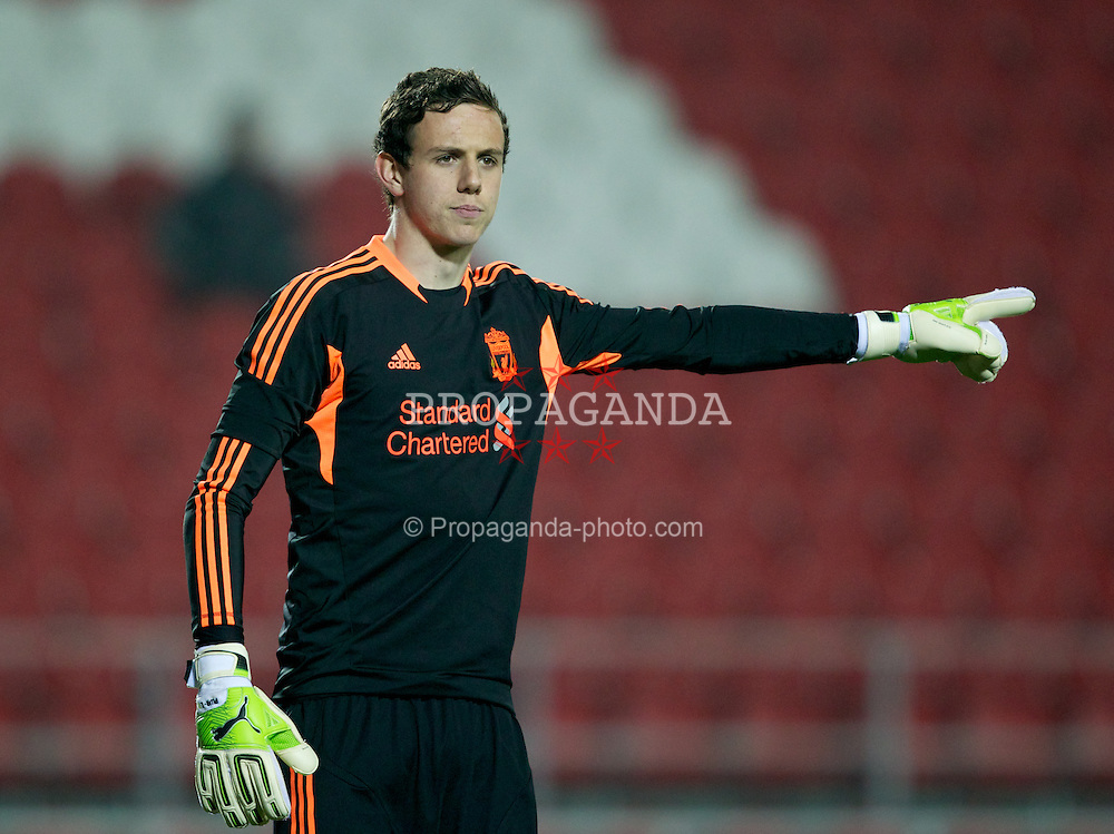ST HELENS, ENGLAND - Wednesday, March 14, 2012: Liverpool's goalkeeper Danny Ward in action against AFC Ajax during the NextGen Series Semi-Final match at Langtree Park. (Pic by Vegard Grott/Propaganda)