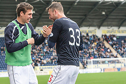 Falkirk's Rory Loy celebrates with Falkirk's Luke Leahafter scoring their third goal.<br /> Falkirk 3 v 1 Dundee, 21/9/2013.<br /> ©Michael Schofield.