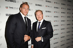 Left to right, Rugby player JAMES HASKELL and ROB DIVER Brand Director at TAG Heuer at a party to celebrate 150 years of TAG Heuer held at the car park at Selfridge's, London on 15th September 2010.