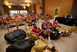 VALE DO LOBO, PORTUGAL - Saturday, May 28, 2016: Wales players watch the UEFA Champions League Final, featuring their team-mate Gareth Bale, during day five of the pre-UEFA Euro 2016 training camp at the Vale Do Lobo resort in Portugal. (Pic by David Rawcliffe/Propaganda)