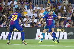 August 13, 2017 - Barcelona, Spain - Jordi Alba and Gareth Bale during the match between FC Barcelona - Real Madrid, for the first leg of the Spanish Supercup, held at Camp Nou Stadium on 13th August 2017 in Barcelona, Spain. (Credit: Urbanandsport / NurPhoto) (Credit Image: © Urbanandsport/NurPhoto via ZUMA Press)