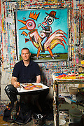 Artist photographed in his Washington DC based studio
