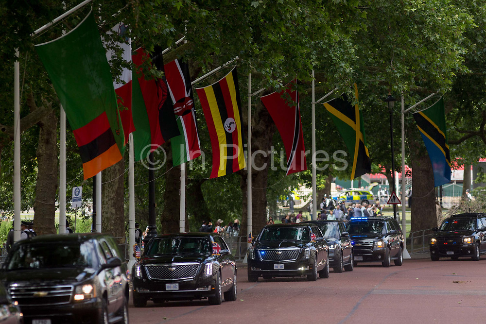 On US President Donald Trumps first day of a controversial three-day state visit to the UK by the 45th American President, his Presidential cavalcade makes its way along Horseguards en-route to Westminster Abbey, on 3rd June 2019, in London England.