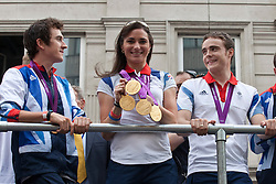© under license to London News Pictures. 25/06/12..Sarah Storey, Paralympic medalist in the Olympic parade. Britain's generation of athletes paid tribute to London as up to a million people lined the streets to celebrate the sporting summer. About 800 Olympians and Paralympians were taking part in the parade...ALEX CHRISTOFIDES/LNP