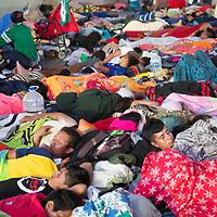 Migrants sleep in the street in Tapachula, Chiapas
