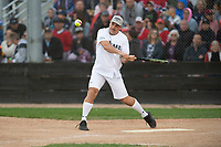 KELOWNA, CANADA - JUNE 28: Retired NHL player Tyler Bouck swings at the plate during the opening charity game of the Home Base Slo-Pitch Tournament fundraiser for the Kelowna General Hospital Foundation JoeAnna's House on June 28, 2019 at Elk's Stadium in Kelowna, British Columbia, Canada.  (Photo by Marissa Baecker/Shoot the Breeze)