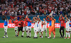 March 23, 2018 - Miami Gardens, Florida, USA - The Peru National Soccer Team celebrates to the crowd their victory over the Croatia National Soccer Team of a FIFA World Cup 2018 preparation match at the Hard Rock Stadium in Miami Gardens, Florida. (Credit Image: © Mario Houben via ZUMA Wire)