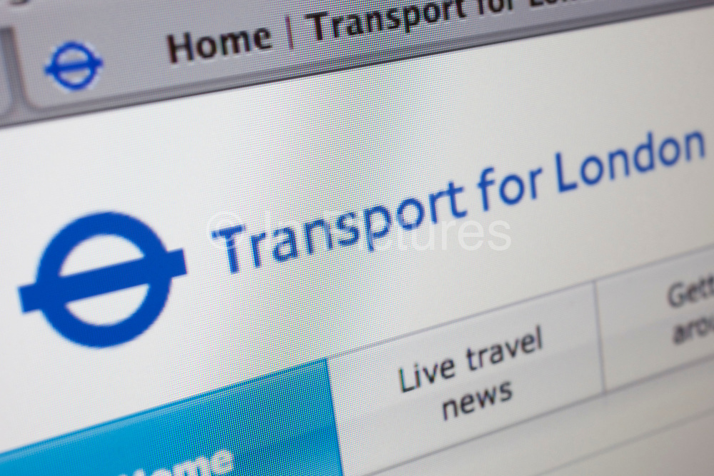Computer screen showing the website for information and travel news site, Transport for London.