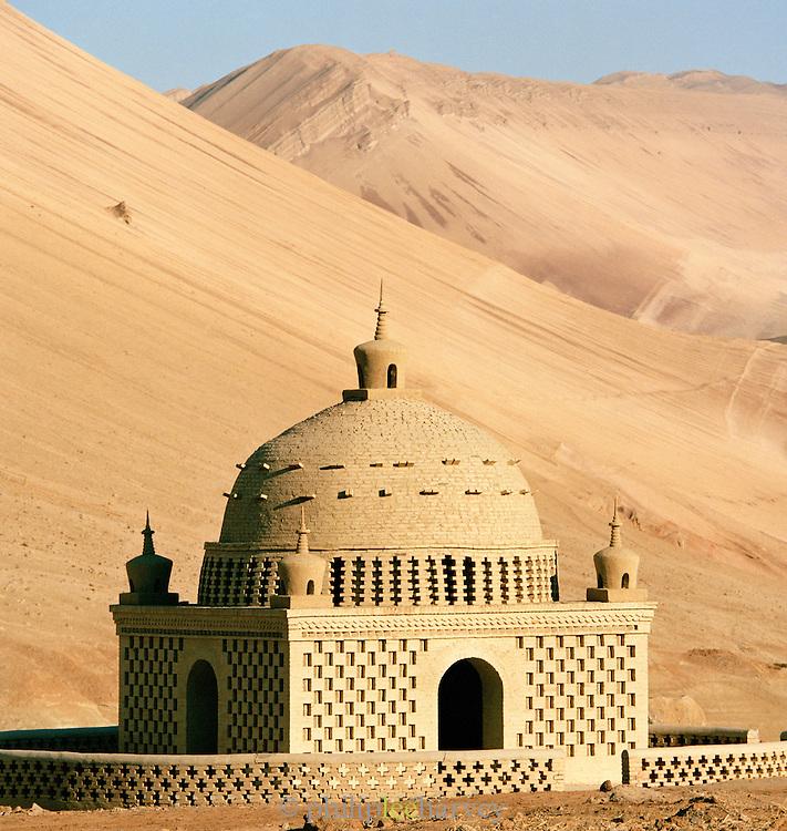 Bezeklik Mosque, otherwise known as Thousand Buddha Cave, near the Singing Sand Dunes, Silk Route; Dunhuang, Jiuquan, Gansu Province, China.