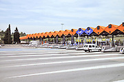 Spanish highway toll booths. Photographed near Barcelona, Spain