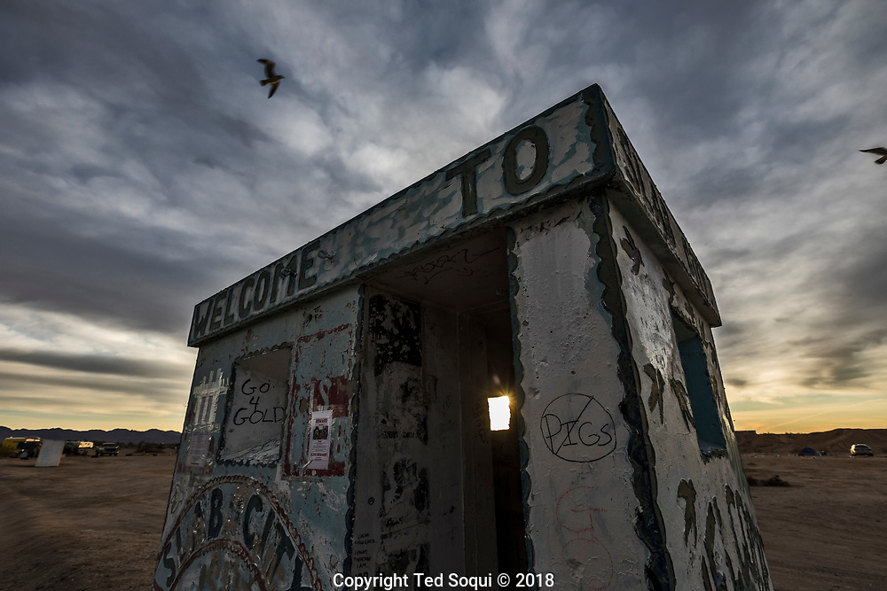 Concrete guard shack near the entrance of Slab City.<br /> Slab City and the local environs.