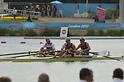 Eton Dorney, Windsor, Great Britain,<br /> <br /> 2012 London Olympic Regatta, Dorney Lake. Eton Rowing Centre, Berkshire.  Dorney Lake.   <br /> <br /> Final, Men's Pair GBR M2- Bow George NASH and Will SATCH and NZL M2-, Bow Eric MURRAY and Hamish BOND<br /> <br />  11:56:56  {DOW]  {DATE}    [Mandatory Credit: Peter Spurrier/Intersport Images]
