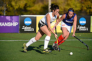 11 NOV 2012:  Megan Callanan (10) of West Chester University battles Carrie Dresser (12) of the University of Massachusetts - Lowell during the 2012 NCAA Women's Division II Field Hockey Championship held at Lester H. Cushing Field on the campus of University of Massachusetts - Lowell in Lowell, MA. West Chester defeated UMass Lowell 5-0 to win the national title. Brett Wilhelm/ NCAA Photos