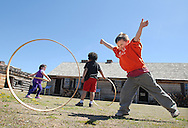 Mark DiOrio/Observer-Dispatch<br /> 5 year old Heath Cutler of Louis V. Denti Elementary School, rolls a wooden hoop while on a field trip at Fort Stanwix, May 10, 2011 in Rome, NY.