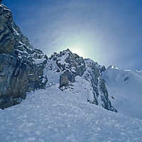 A cliffy gully down which Gordon Wiltsie and companions were avalanched during the first-ever ski crossing of India's Great Himalaya Range.