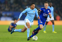 19th December 2017 - Carabao Cup (Quarter Final) - Leicester City v Manchester City - Lukas Nmecha of Man City battles with Andy King of Leicester - Photo: Simon Stacpoole / Offside.